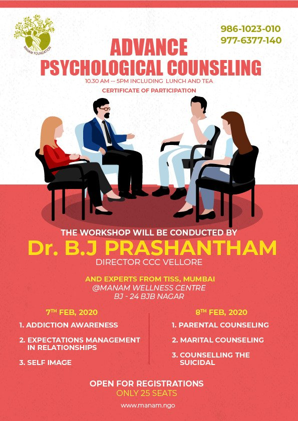 Advance Psychological Counselling Workshop with Dr.B J Prashantham - The Father of Counselling Psychology and Psychotherapy.